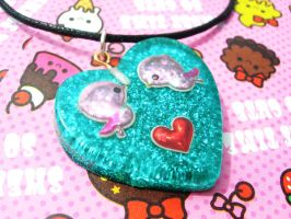 Love birds resin necklace by Daisy--Chains