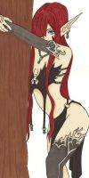 Red Haired Elf Woman by MacabreBeast