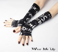 Your Style - Black gloves with Silver Letters by WearMeUp