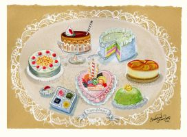 Petite Cakes Birthday painting by BlueBirdie