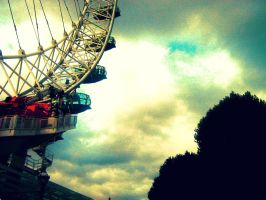London Eye and the Tree Tops by LittleRedHatter