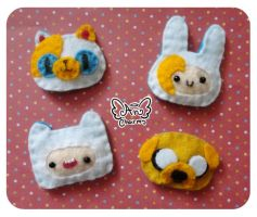 Adventure time Hairclips - Brooch by Angeru-Charms