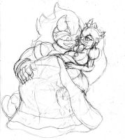 Peach and Bowser 4 -sketch- by Requiem-Shade