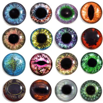 25mm Glass Eyes for Jewelry Making Pendants, Dolls by Glamour365
