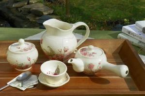 Blossom Motif Tea Ensemble, High fire stoneware by YousungChoiPottery