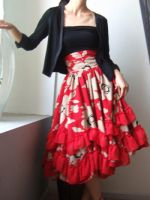 Red Brown 50s Full Skirt 8 by yystudio