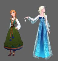 Frozen - Anna and Elsa Dress Designs by lostie815