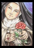 Saint Therese with Pink Rose by natamon