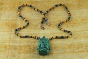 Men's Choker Egyptian Clay Bead Necklace by BeautifulEarthStudio