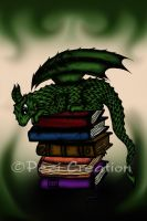 Dragon on Books by PeziCreation