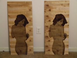 Nude Figure Study In Wood Stain by PoeticOddity