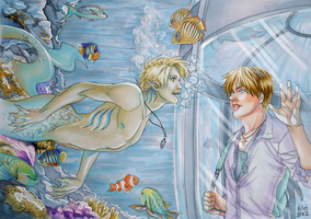 Merman in the aquarium by VKliza