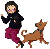 girl + dog by hawberries