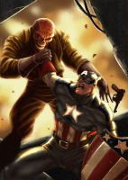 Cap vs. Redskull by charkxl