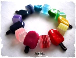 Rainbow Popsicle Bracelet III by Cateaclysmic