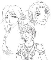 Final Fantasy Family - Lineart by Takabi-Tenshi