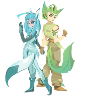Glaceon + Leafeon by OneWingArt