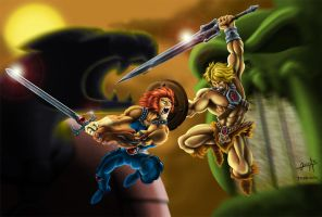 Lion-O VS He-Man by LordTerrato
