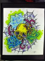 skull roses spider web tattoo by lilmrsfrankenstein