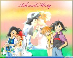 Ash and Misty Desktop by Kuki-San