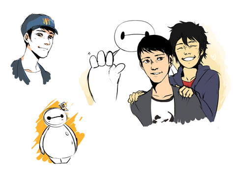 big hero 6 doodles by Kashoune