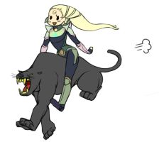 Panther-rider Diana by Kuroonehalf