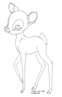Bambi Line Art by oCrystal