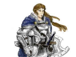 Human Paladin_sketch color by Battleaxegirl