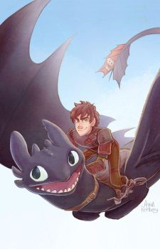 Toothless and Hiccup by aerettberg