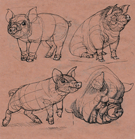 Sketches of a pig by EleniWat