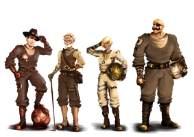 Steampunk Captains by SaephireArt