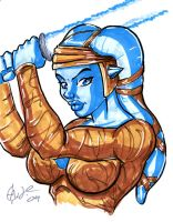 Aayla Secura sketch by Artassassin