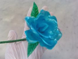 Sugar Blue Rose (closeup) by recycledrapunzel