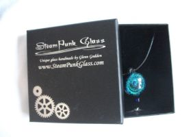 Steampunk glass necklace by UndertakerisEpic