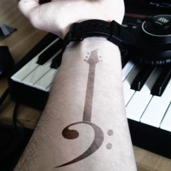 Bass Clef Guitar Tattoo (Concept) by Lord-Psymon