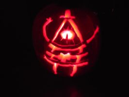 Bill Cipher Pumpkin Lights Off by Suemoons