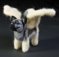 Needle Felted Elkhound Angel by The-GoblinQueen