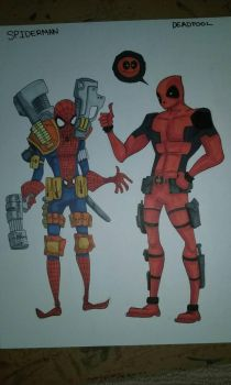Spiderman and Deadpool by NightMoonShine