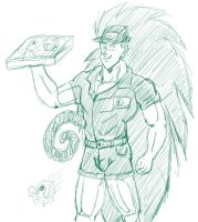 Pizza man Raditz. by Paradise-of-Darkness