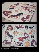 stickers: basset hounds by shelzie