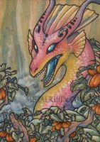 angry pink dragon ACEO by thedancingemu