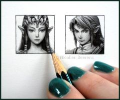 Zelda and Link - miniatures by Cataclysm-X