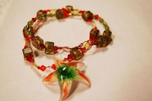 Orange and Green Starfish Necklace by saourealis