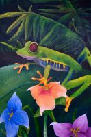 Mural Piece 5- Frog and Flowers close up by Otterrific