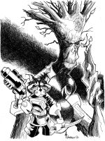 Sketch 024 of 100 ROCKET RACCOON and GROOT by misfitcorner