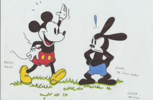 mikey mouse and oswald the lucky rabbit by stefano-roca