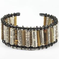 Paper Bead and Guitar String Cuff Bracelet by Tanith-Rohe