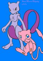 Mew and Mewtwo by SonicMauriceHedgehog