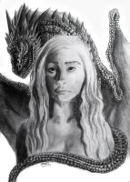 Khaleesi and Drogon by Thealess