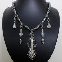 Sword and Teardrop Beaded Byzantine Necklace by Gone-Wishing